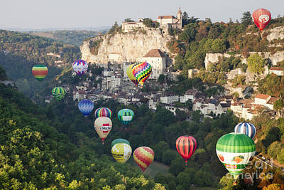 Rocamadour Midi-pyrenees France Hot Air Balloons Poster by Colin and Linda McKie