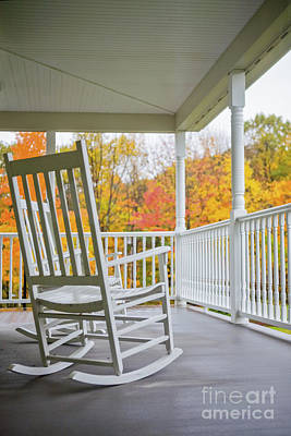 Rocking Chairs On A Porch In Autumn Poster by Diane Diederich