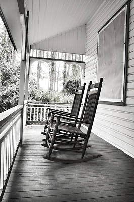 Rocking Chairs On Porch Poster by Rebecca Brittain