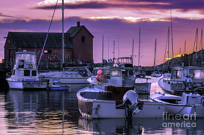 Rockport Harbor At Sunrise - Open Edition Poster by Thomas Schoeller