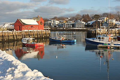 Rockport Harbor In Winter Poster by Gail Maloney