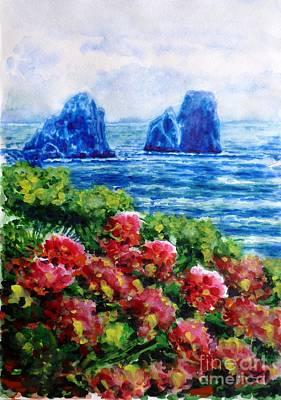 Rocks Of Capri Poster by Zaira Dzhaubaeva