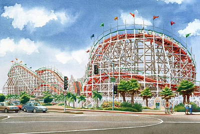 Roller Coaster Mission Beach Poster by Mary Helmreich