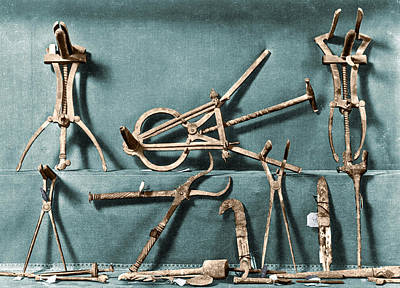 Poster featuring the photograph Roman Surgical Instruments, 1st Century by Science Source