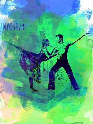 Romantic Ballet Watercolor 1 Poster by Naxart Studio