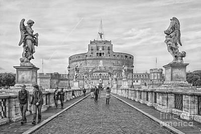 Rome Castel Sant Angelo Mono Poster by Antony McAulay