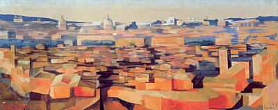 Rome, View From The Spanish Academy On The Gianicolo, Dusk, 1968 Oil On Canvas See Also 213354 & Poster by Izabella Godlewska de Aranda