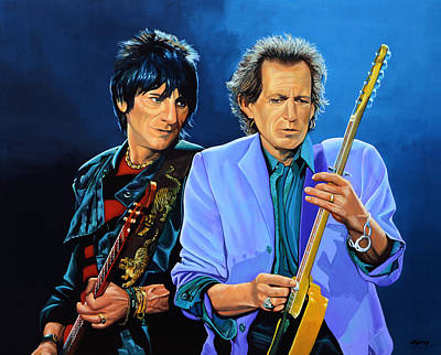 Forty Poster featuring the painting Ron Wood And Keith Richards by Paul Meijering