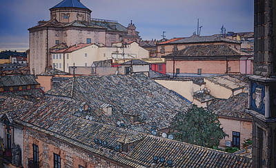Rooftops Of Toledo Poster by Joan Carroll