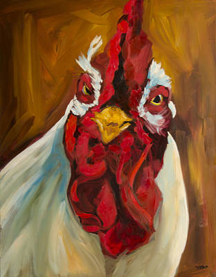 Rooster Face Poster by Diane Whitehead