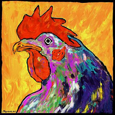 Rooster On Yellow Poster by Dale Moses