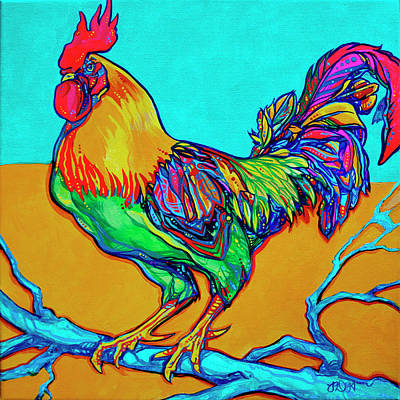 Rooster Perch Poster by Derrick Higgins
