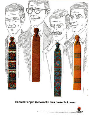Rooster Ties 1960s Usa Mens Ties Poster by The Advertising Archives