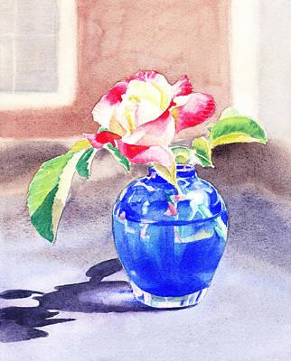 Rose In The Blue Vase  Poster by Irina Sztukowski