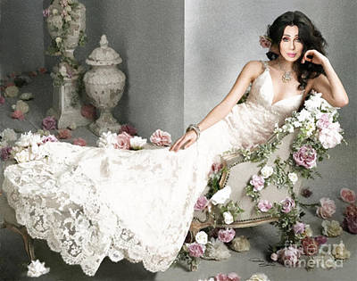 Roses For Cher Poster by Donna  Schellack