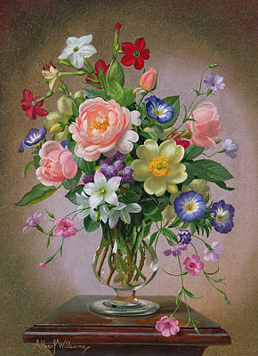 Roses Peonies And Freesias In A Glass Vase Poster by Albert Williams