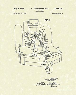Rotary Mower 1961 Patent Art Poster by Prior Art Design