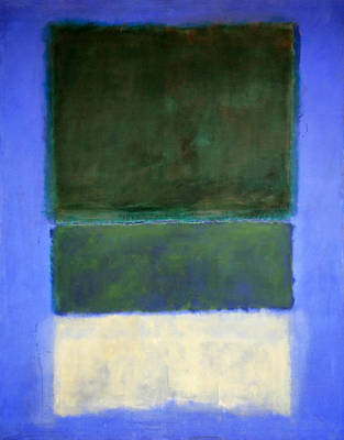 Rothko's No. 14 -- White And Greens In Blue Poster by Cora Wandel