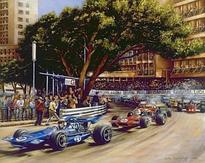 Round Sainte Devote - 1970 Monaco Grand Prix Poster by Gulay Berryman