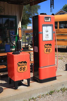 Route 66 Gas Pumps Poster by Frank Romeo