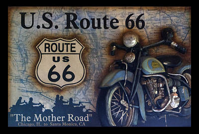 Route 66 Odell Il Gas Station Motorcycle Signage Poster by Thomas Woolworth