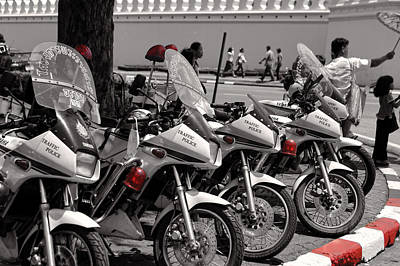 Row Of Police Bikes Bw Poster by Linda Phelps