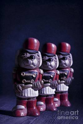 Row Of Three Ceramic Mice Poster by Amanda Elwell