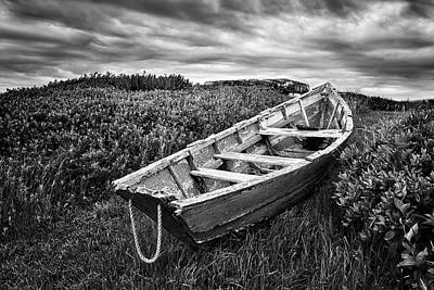 Rowboat At Prospect Point - Black And White Poster by Nikolyn McDonald