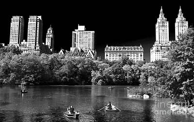 Rowing In Central Park Poster by John Rizzuto