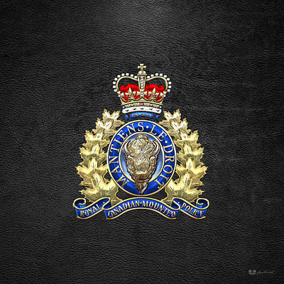 Royal Canadian Mounted Police - Rcmp Badge On Black Leather Poster by Serge Averbukh