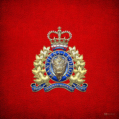 Royal Canadian Mounted Police - Rcmp Badge On Red Leather Poster by Serge Averbukh