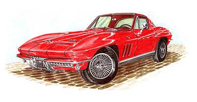 Ruby Red 1966 Corvette Stingray Fastback Poster by Jack Pumphrey
