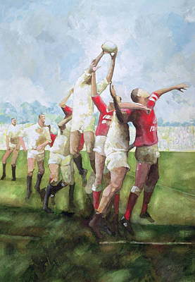 Rugby Match Llanelli V Swansea, Line Out Poster by Gareth Lloyd Ball