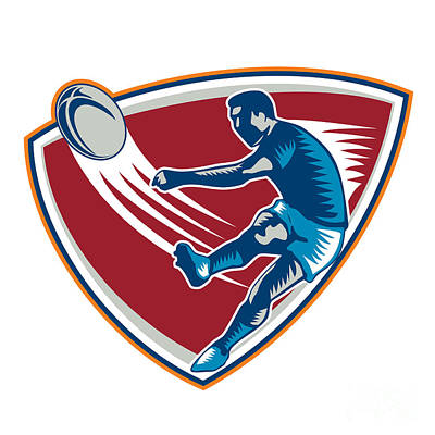 Rugby Player Kicking Ball Shield Woodcut Poster by Aloysius Patrimonio