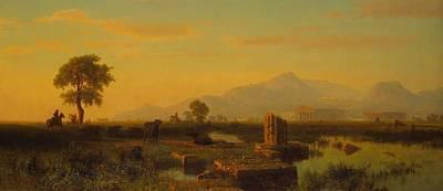 Ruins Of Paestum Poster by Albert Bierstadt