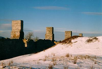 Ruins With Snow And Blue Sky Poster by David Fiske