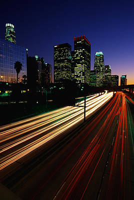 Rush Hour Harbor Freeway Los Angeles Ca Poster by Panoramic Images