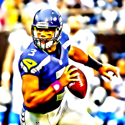 Russell Wilson In The Pocket Poster by Brian Reaves