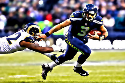 Russell Wilson On The Move Poster by Brian Reaves
