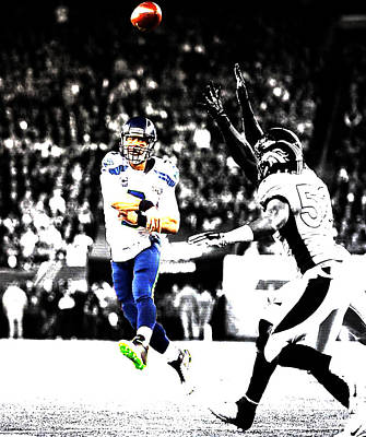 Russell Wilson Running Pass Poster by Brian Reaves
