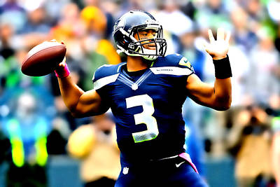 Russell Wilson Smooth Delivery Poster by Brian Reaves