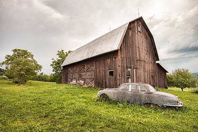 Rustic Art - Old Car And Barn Poster by Gary Heller