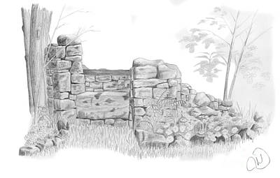 Rustic Stone Well Poster by Rod Jones