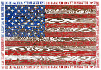 Rustic Usa Flag-god Bless-jp2574 Poster by Jean Plout
