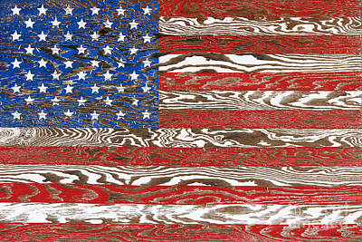 Rustic Usa Flag-jp2569 Poster by Jean Plout