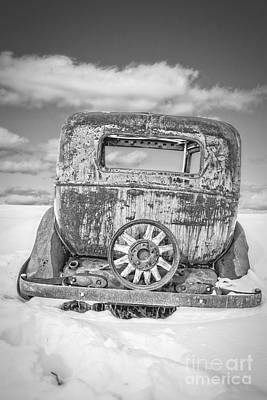 Rusty Old Car In The Snow Poster by Edward Fielding