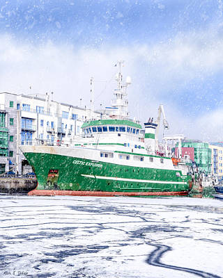 Rv Celtic Explorer In Port At Galway Harbor Poster by Mark E Tisdale