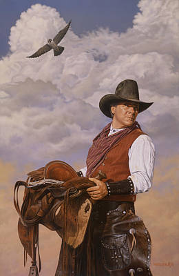 Saddle 'em Up Poster by Ron Crabb