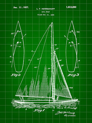 Sail Boat Patent 1925 - Green Poster by Stephen Younts
