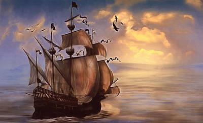 Sail Into My Dreams Vintage Poster by Georgiana Romanovna